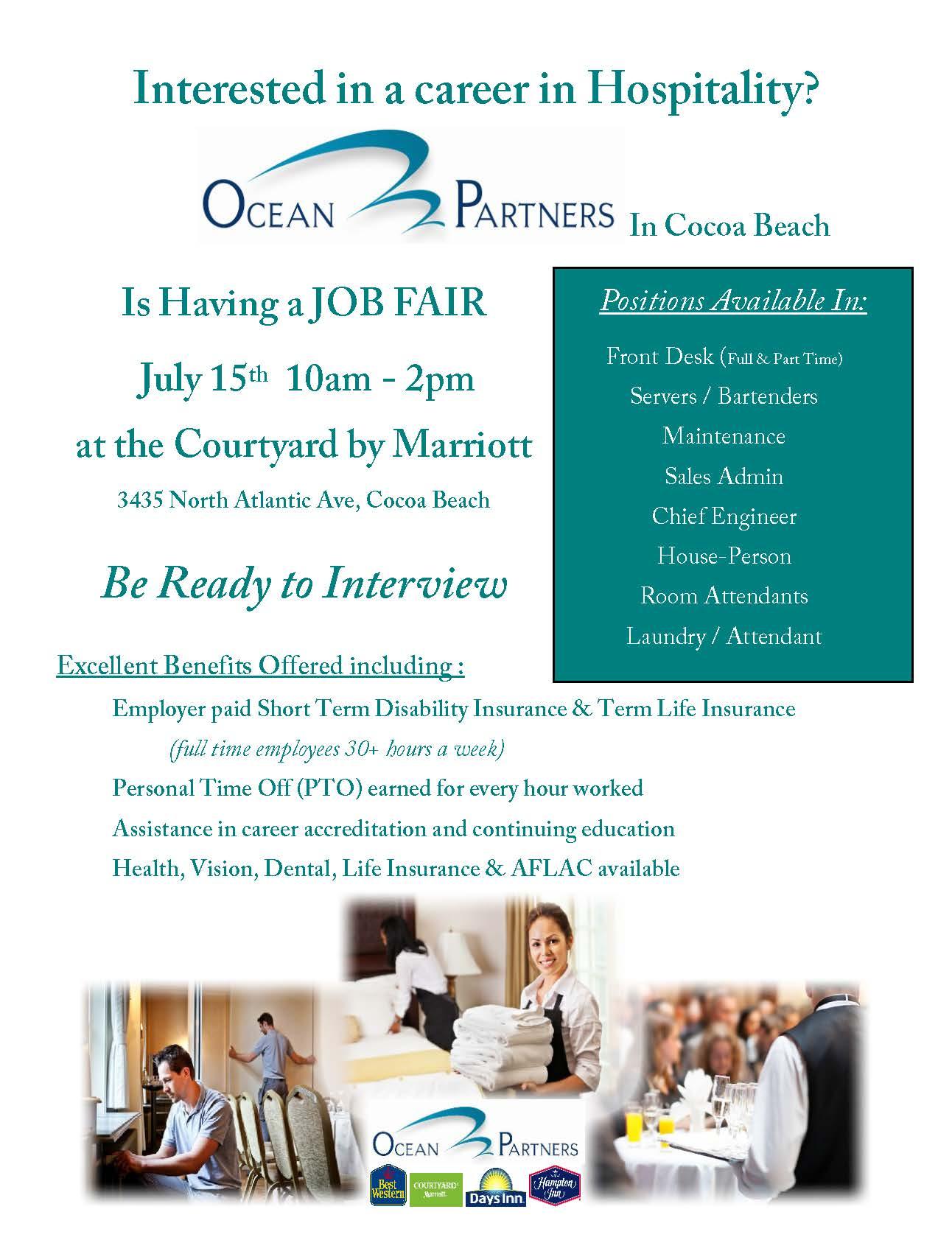 Cocoa Beach Hotel Job Fair Flyer