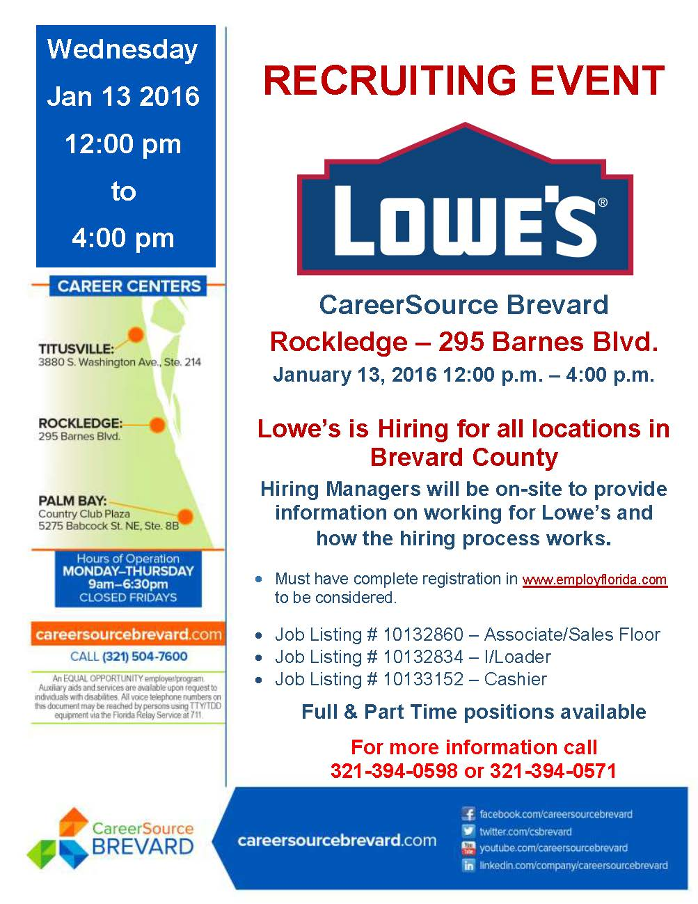 recruiting event for lowes all locations hiring rockledge lowes flyer no jl 1 13 2016 rockledge