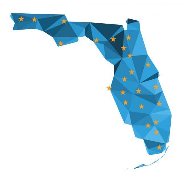 Illustration of Florida filled with blue triangles and stars of Workforce Board locationss