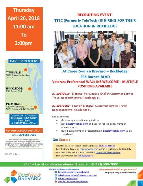 Recruiting Event Bilingual Customer Service Travel Reps