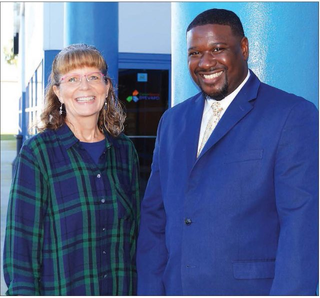 Judy Blanchard and Clinton Hatcher of CareerSource Brevard discuss Aerospace Pre-Apprenticeship program with Brevard Business News