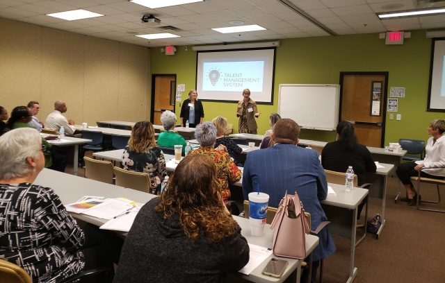 Presenters discuss the keys to talent management at CareerSource Brevard in Rockledge during a recent business learning event