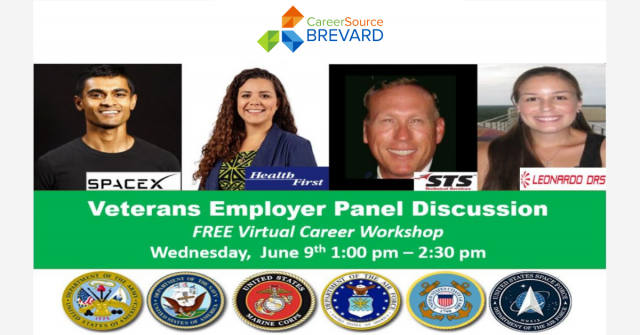 Veterans Employer Panel Discussion Wednesday June 9th 1:00 pm to 2:00 pm image of panelists