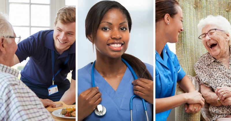Three images side by side of healthcare workers in a home health care setting.